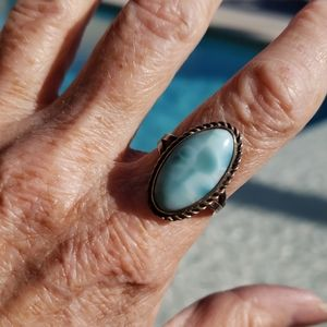 Genuine Larimar Sterling Silver Vintage Ring S7.25